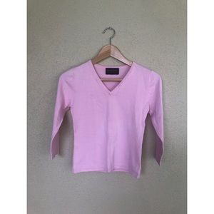 VINTAGE 1990's pink cropped 3/4 sleeve sweater top